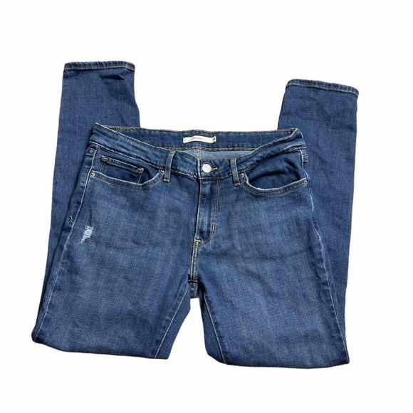 Levi's | 711 Skinny Distressed Denim Blue Jeans 29
